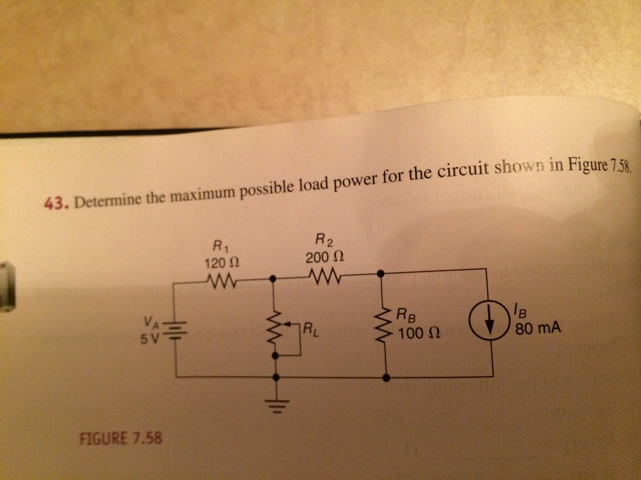 Determine the maximum possible load power for the