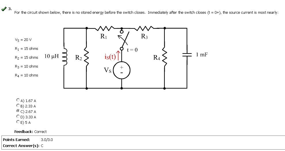 For the circuit shown below, there is no stored en