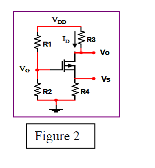 In Figure 2, the NMOS transistor is biased to oper