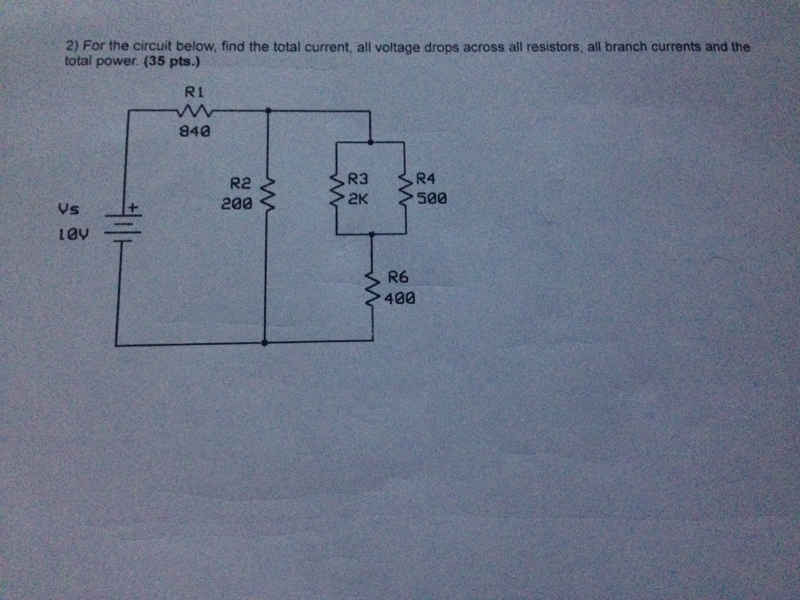 For the circuit below, find the total current, all