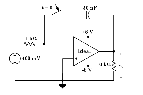 Given: The operational amplifier in the above circ