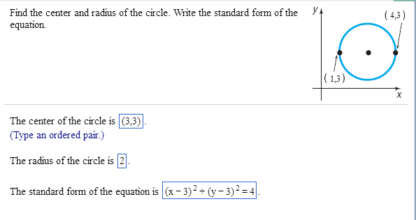 Find The Center And Radius Of The Circle. Write Th... | Chegg.com