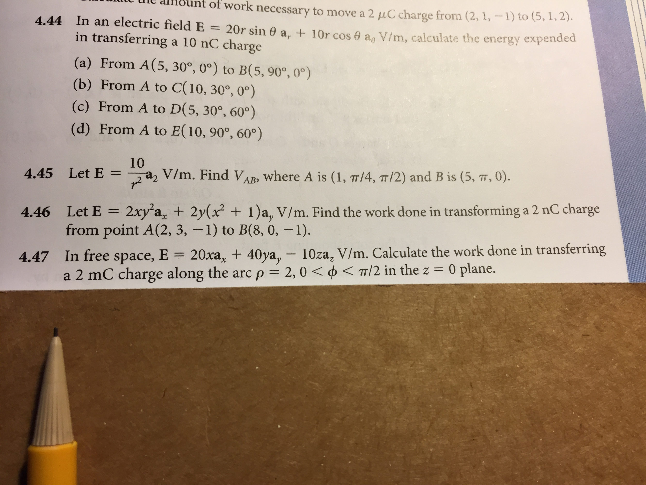 Hello, I Am Having Trouble With Number 47 In An Electric Field E = 20r How  To Calculate Gpa