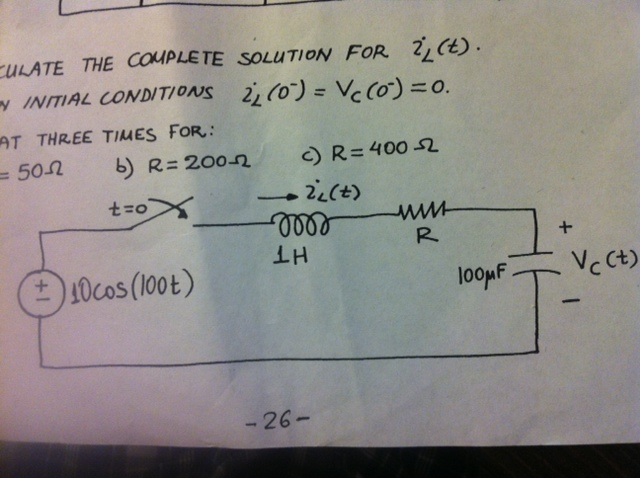 Calculate the complete solution for iL(t).