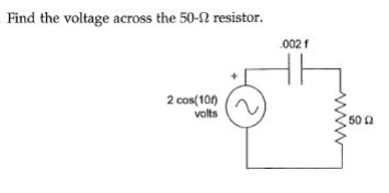Find the voltage across the 50-Ohm resistor.