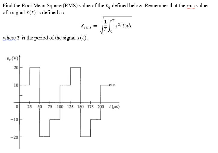Find the Root Mean Square (RMS) value of the vg de