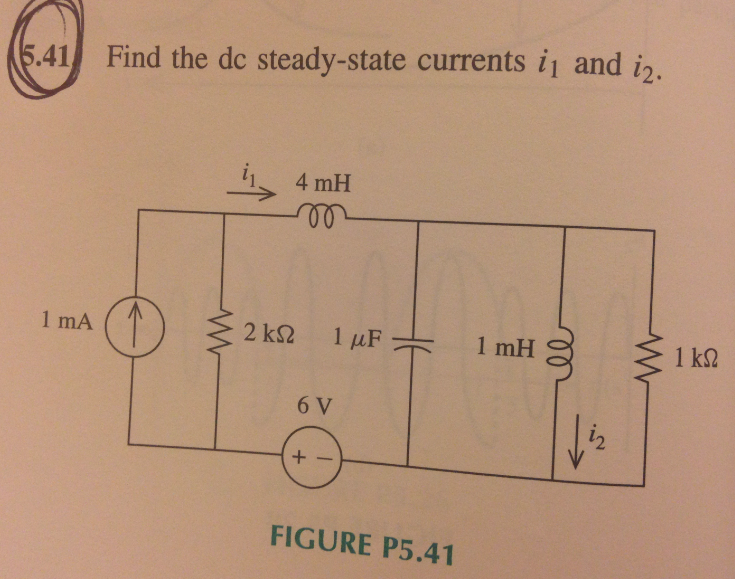 Find the dc steady-state currents i1 and i2.