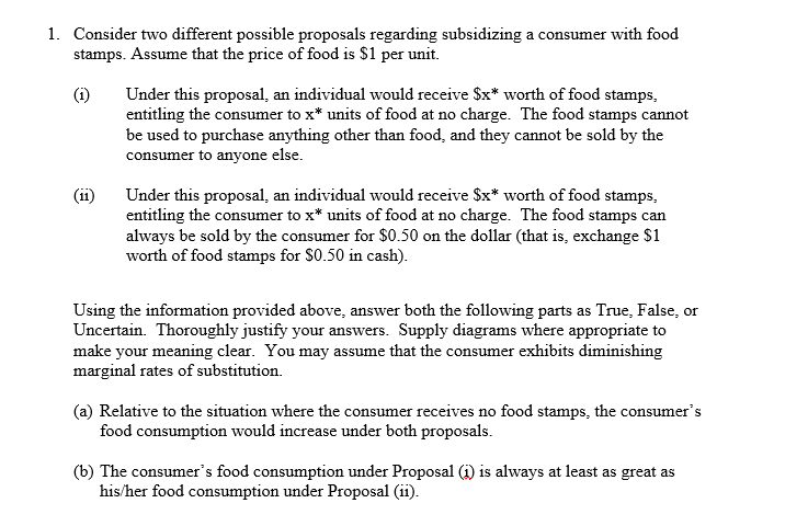 Solved Consider Two Different Possible Proposals Regardin
