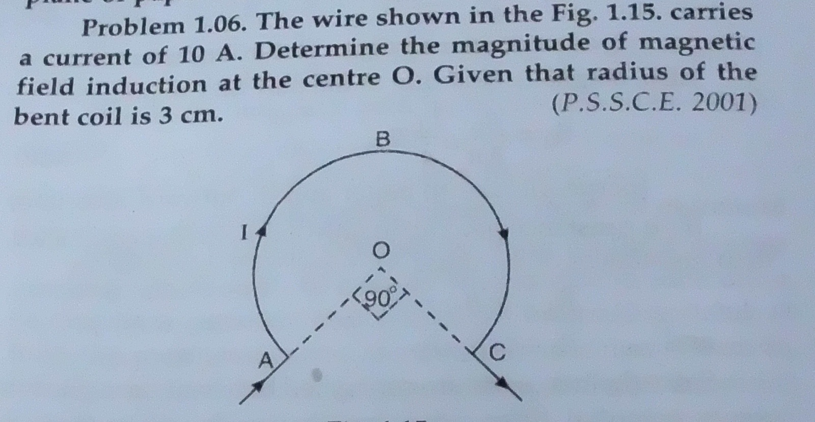 The wire shown in the Fig. 1.15. carries a current