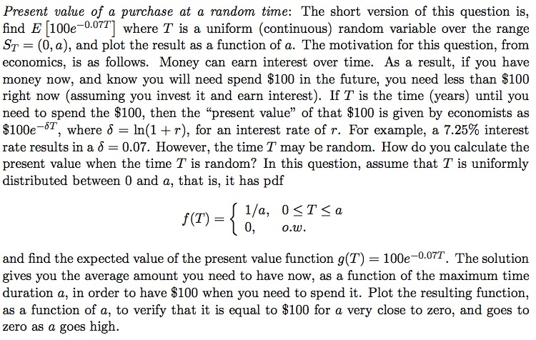 Present value of a purchase at a random time: The