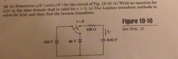 (a) Determine ic(0-) and ic(0+) for the circuit of