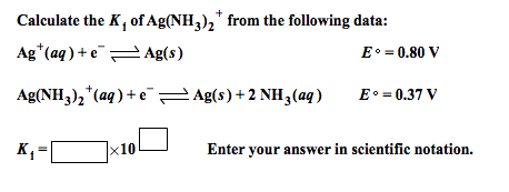 Calculate the of Ag(NH3)2+ from the following data