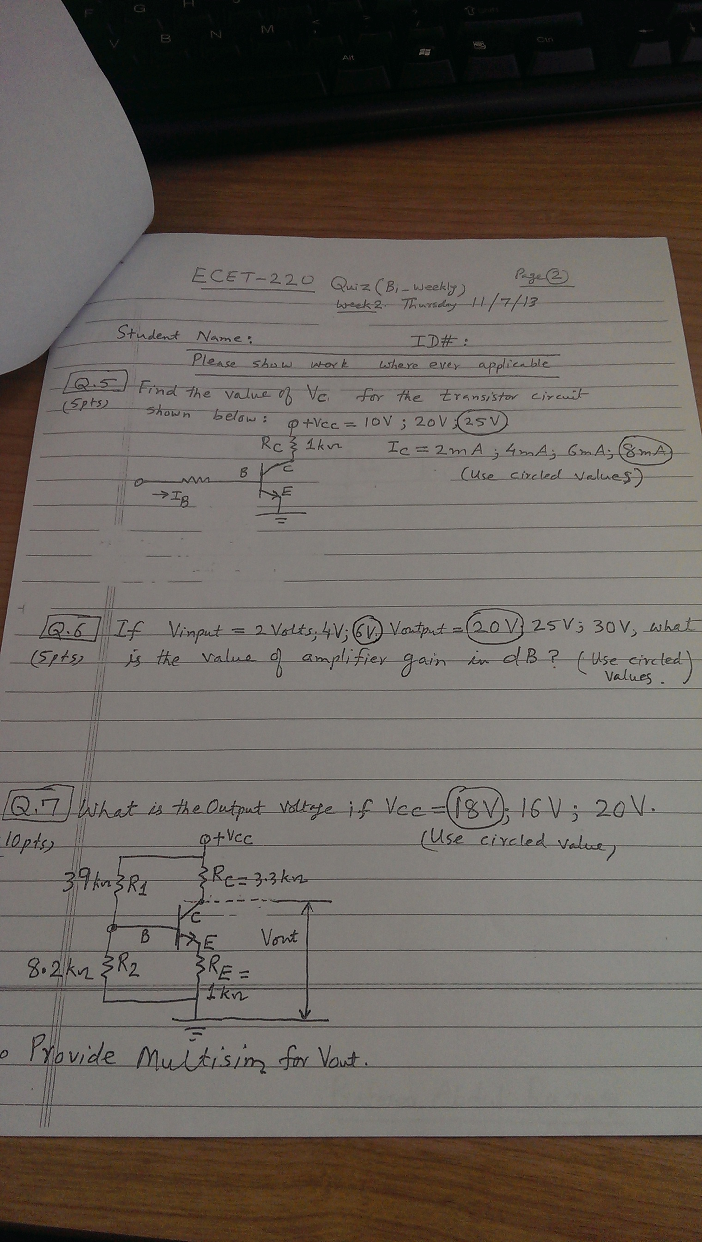Find the value of Vc, for the transistor circuit s