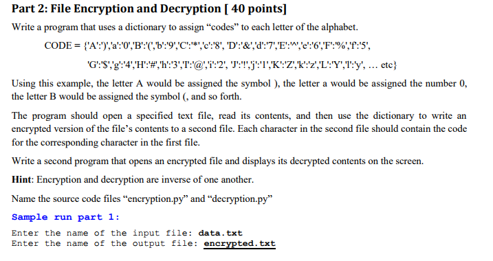 Solved: Part 2: File Encryption And Decryption [ 40 Points ...