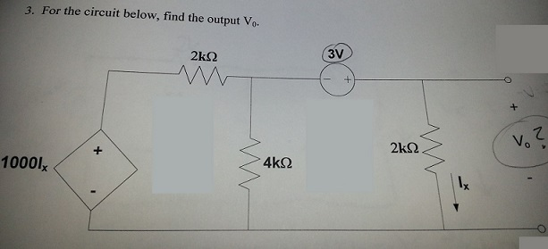 For the circuit below, find the output V0.
