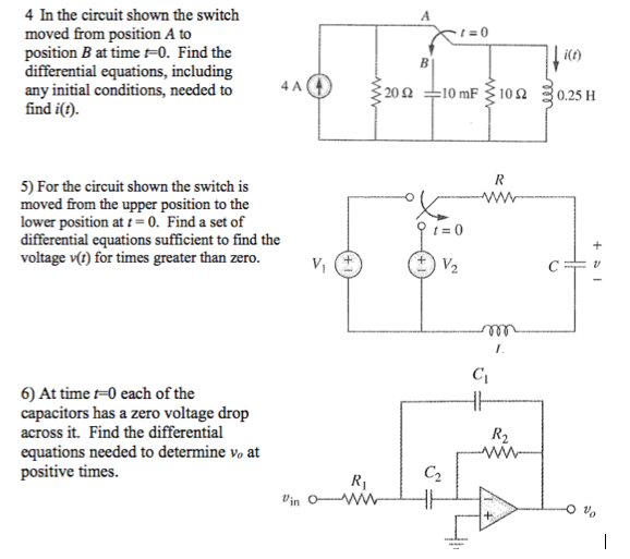 In the circuit shown the switch moved from positio