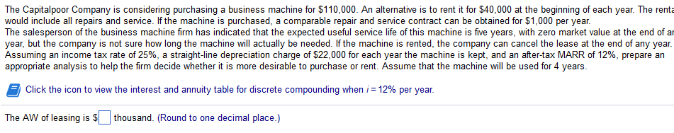 Question: The Capitalpoor Company is considering purchasing a business machine for $110,000. An alternative...