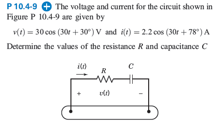 The voltage and current for the circuit shown in F