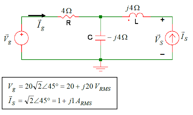For the following RMS Phasor Domain circuit, find
