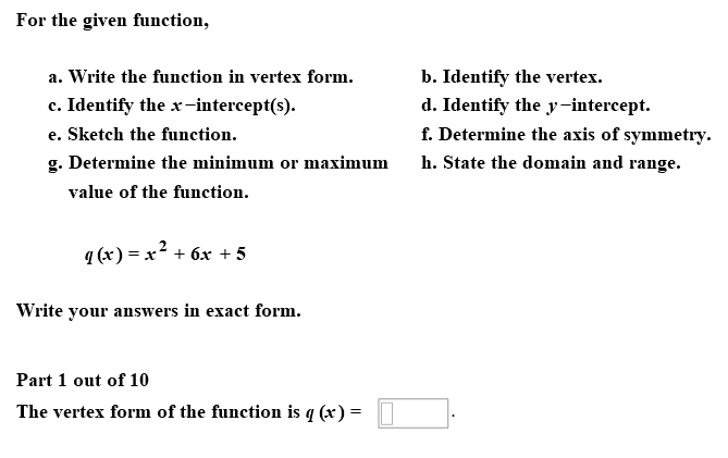 Solved For The Given Function A Write The Function In V
