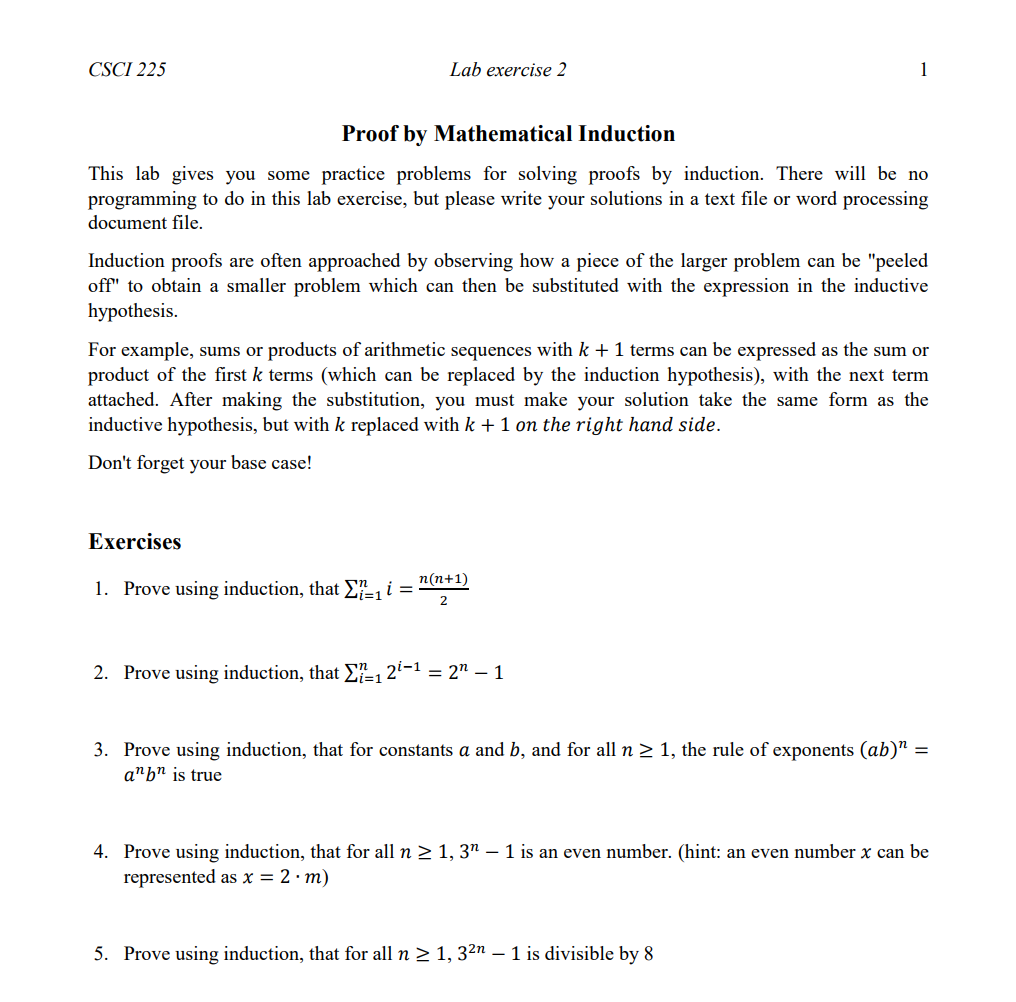 Solved: CSCI 225 Lab Exercise 2 Proof By Mathematical Indu ...