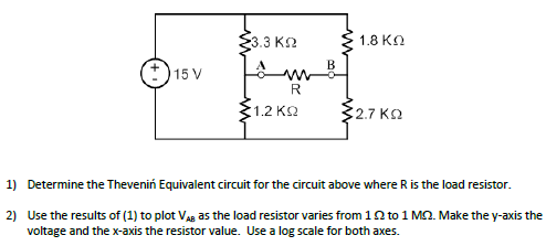 Determine the Thevenin Equivalent circuit for the