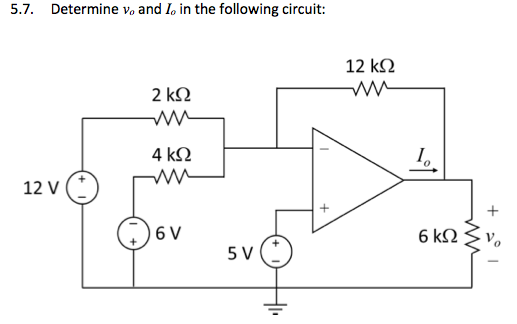 Determine v0, and I0. in the following circuit: