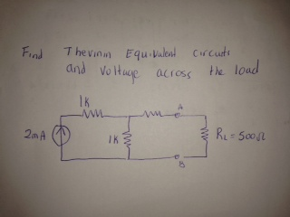Find Thevinin Equivalent circuits and voltage acro
