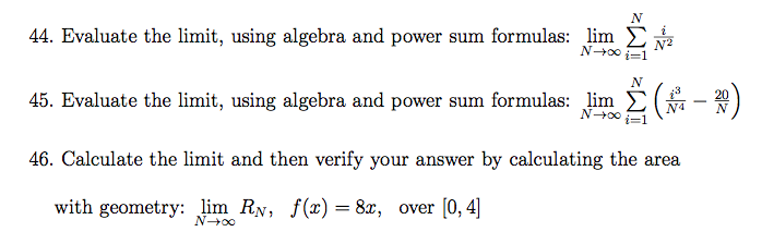 Evaluate the limit, using algebra and power sum fo