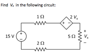 Find Vx in the following circuit: