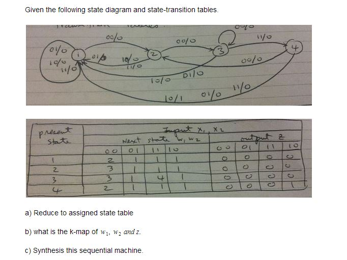 Given the following state diagram and state-transi