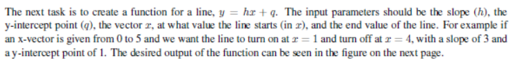 The next task is to create a function for a line,
