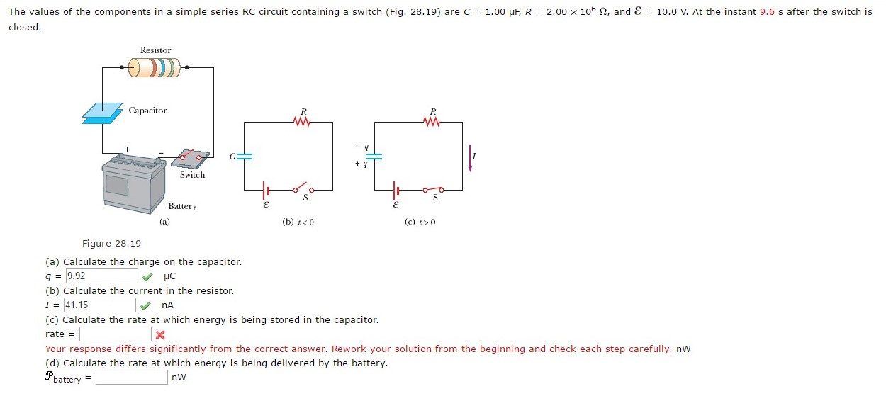 The values of the components in a simple series rc chegg question the values of the components in a simple series rc circuit containing a switch fig 2819 are c sciox Images