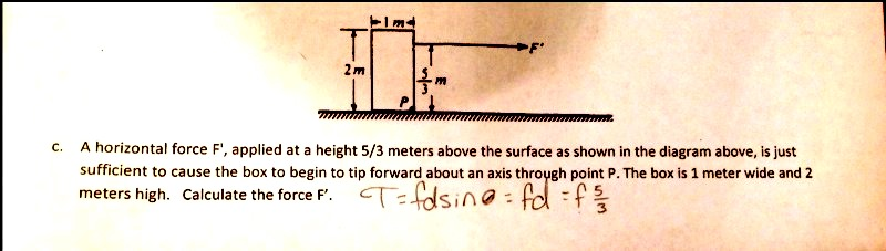 A horizontal force F', applied at a height 5/3 met