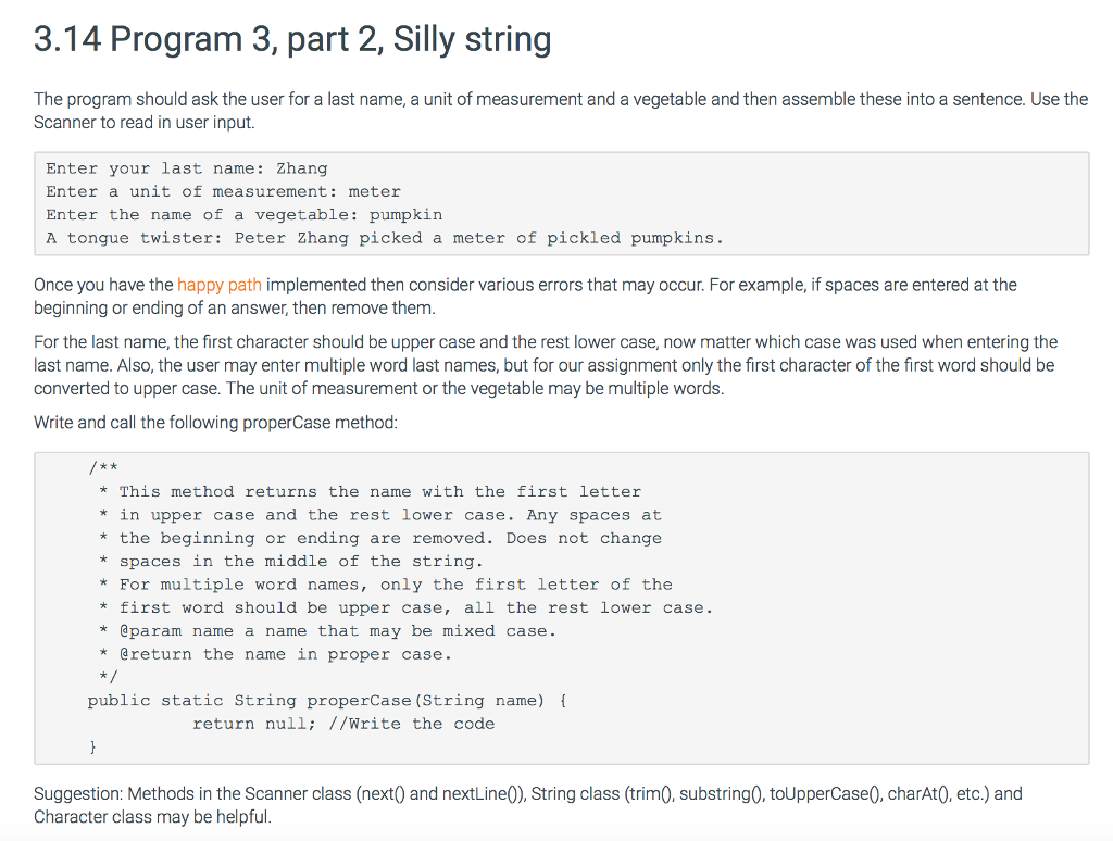 314 Program 3 Part 2 Silly String The Should Ask User For