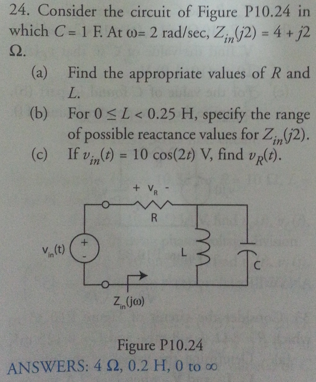 Consider the circuit of Figure P10.24 in which C =