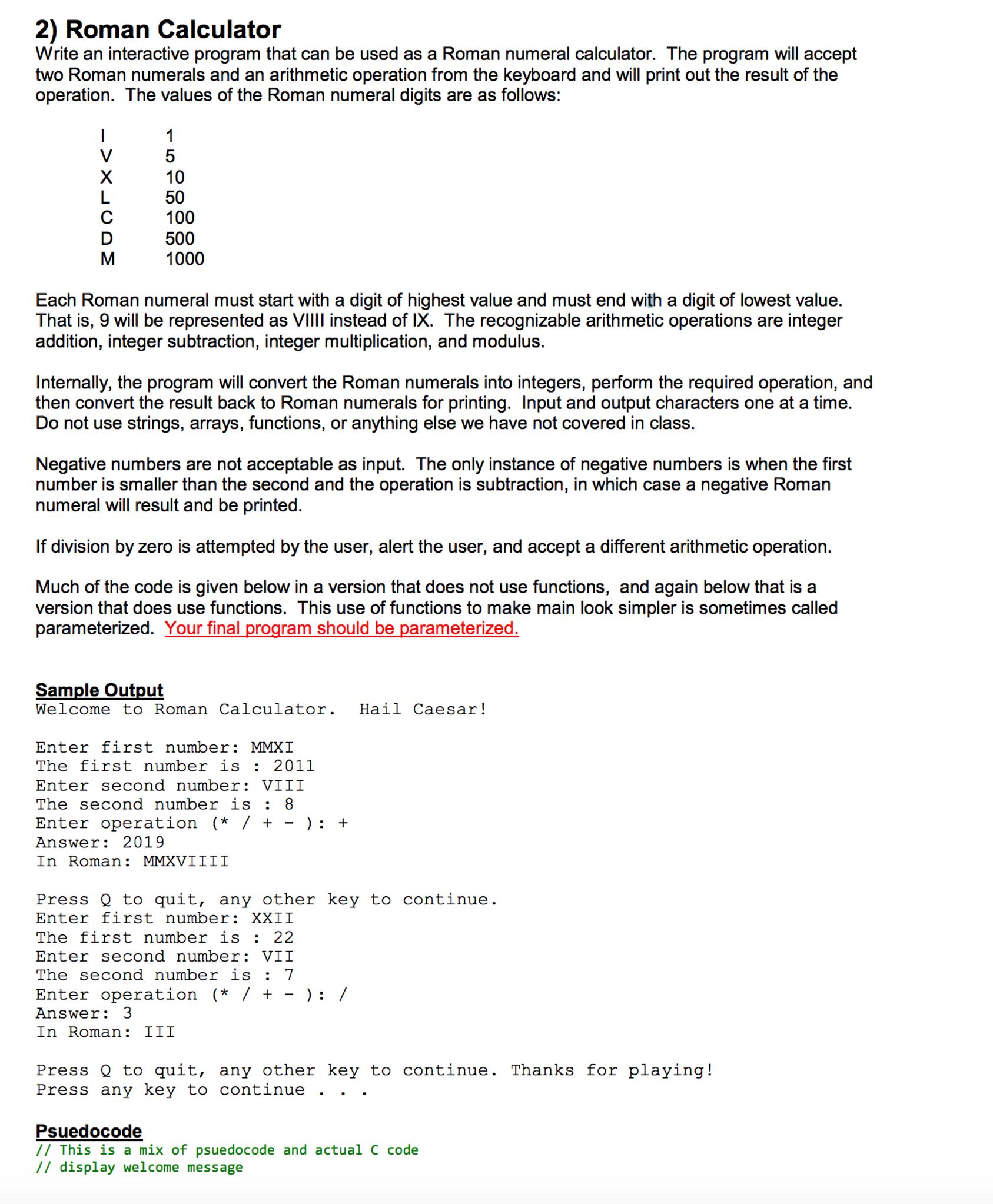 Roman numerals calculator -  2 Roman Calculator Write An Interactive Program T