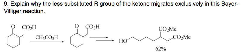 Explain why the less substituted R group of the ke