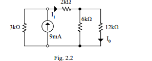 Find the currents I1 and I0 in the circuit in Fig.