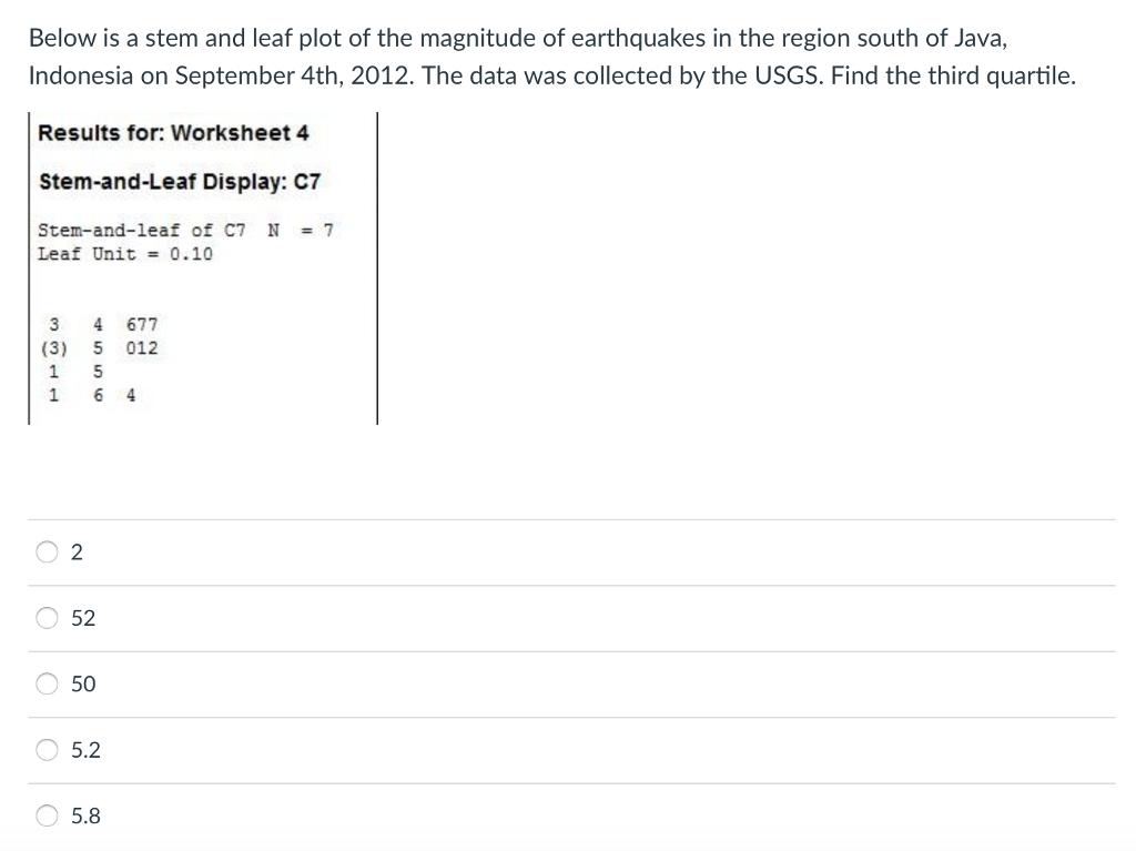 Below Is A Stem And Leaf Plot Of The Magnitude Of – Stem and Leaf Plot Worksheet