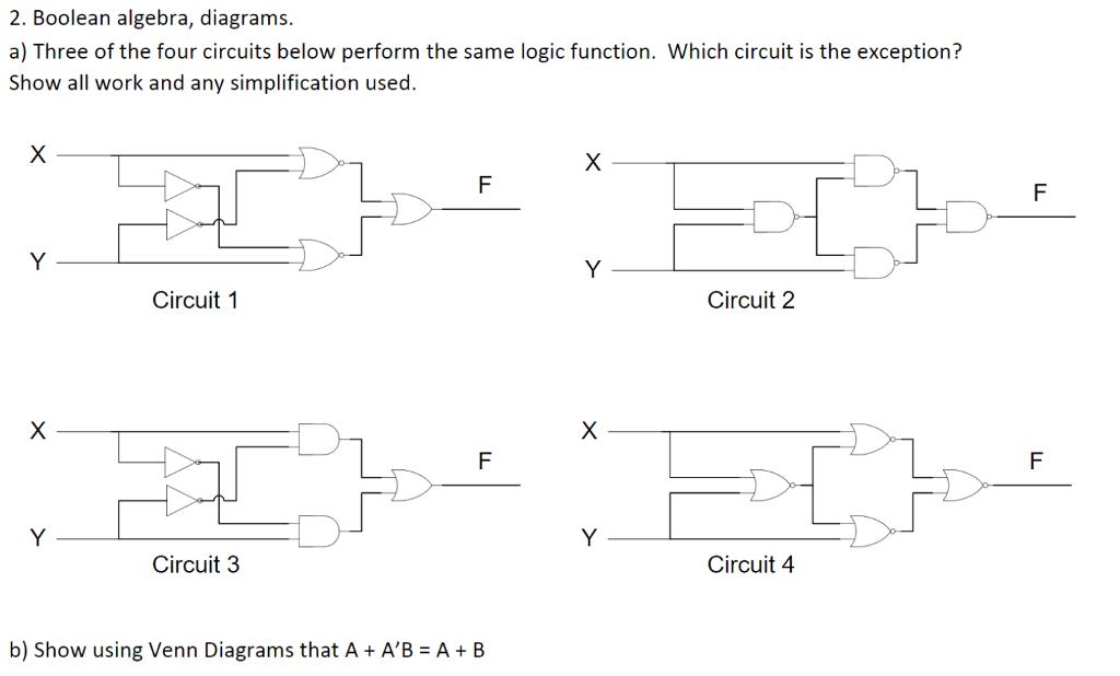 Boolean algebra diagrams a three of the four ci chegg boolean algebra diagrams a three of the four circuits below perform ccuart Choice Image