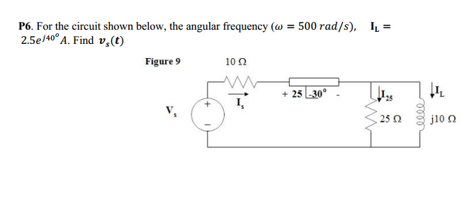 For the circuit shown below, the angular frequency