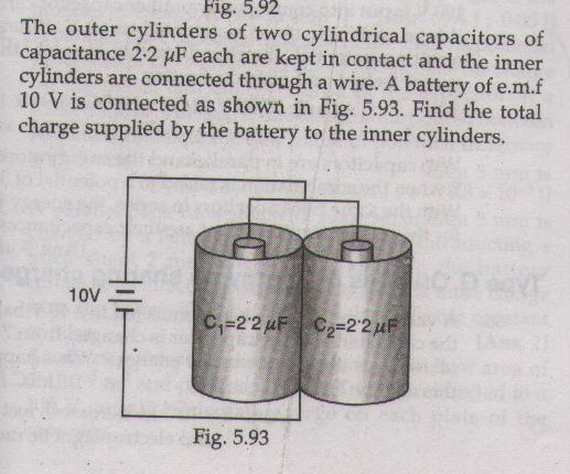 The outer cylinders of two cylindrical capacitors