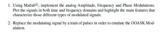Using Matlab copy , implement the analog Amplitude