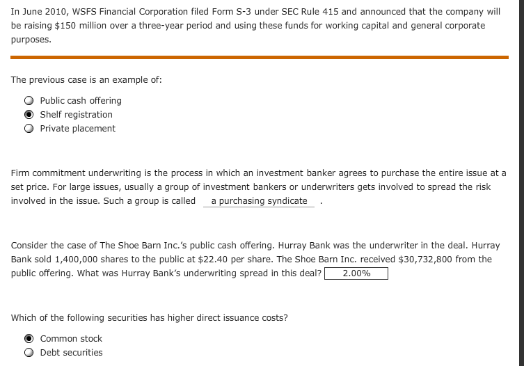 In June 2010, WSFS Financial Corporation Filed For... | Chegg.com