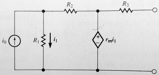 Find the Thevenin equivalent of the subcircuit sho