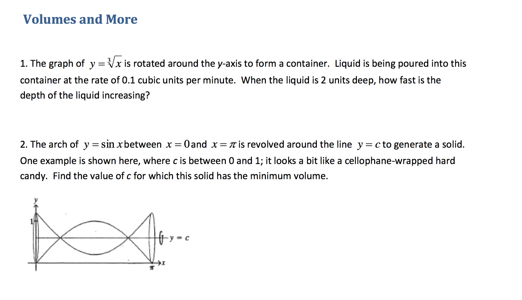 Image For Volumes And More 1 The Graph Of Y = Cube Root Is Rotated