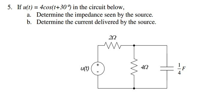 If u(t) = 4cos(t+30 degree ) in the circuit below,