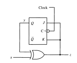 Analyze the synchronous sequential circuit. Assum