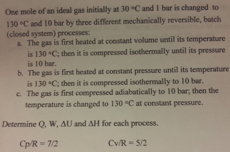 One mole of an ideal gas initially at 30 degree C